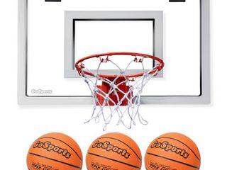 GoSports Basketball Door Hoop with 3 Premium Basketballs   Pump   PRO Size