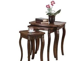 Coaster 901076 3 Piece Curved leg Nesting Table Set  Brown