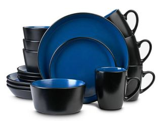 STONE lAIN 16 Piece Casual Blue and Black Stoneware Dinnerware Set  Set for 4
