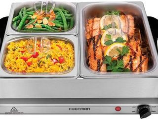 Chefman Electric Buffet Server   Warming Tray w  Adjustable Temp Hot Plate  14  x 14  Surface  Stainless Steel   Stainless Steel