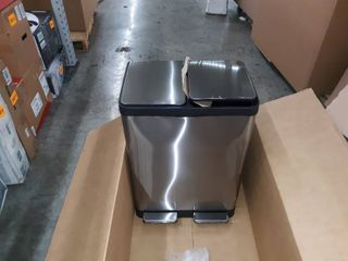 Stainless Steel 60 liter Trash and Recycling Can Combo