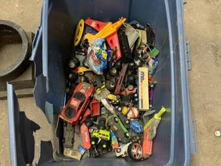 Tub of toy cars
