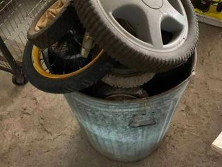 Bucket of lawnmower tires