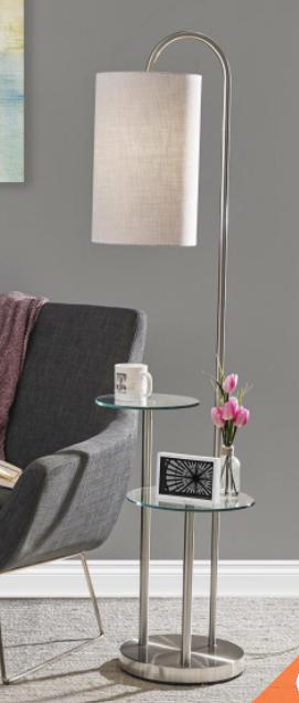 Brushed Steel Shelf Floor lamp