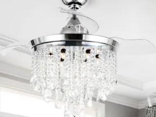 Silver Orchid Crystal Ceiling Fan Chandelier