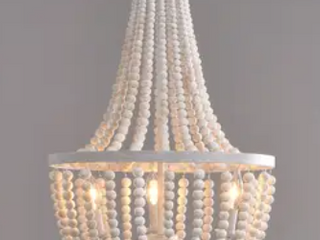 Zander White 3 light Wood Bead Chandelier