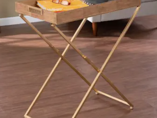 Strick  amp  Bolton Vesset Contemporary Natural Wood Folding Side Table