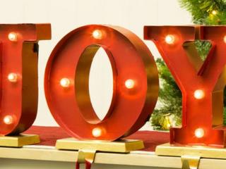 lED light Up Joy Marquee Stocking Holders
