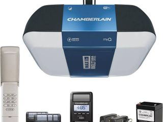 Chamberlain Group Chamberlain Bright lED lighting Smartphone Controlled Ultra Quiet  amp  Strong Belt Drive Garage Door Opener with Battery Backup  amp  Max lifting Power  1 25 hp  Blue