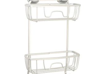 Zenna Home 15 5 in H Suction Cup Aluminum Satin Chrome Hanging Shower Caddy