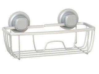 NeverRust Aluminum Suction Basket Shower Caddy Satin Chrome  Grey  Zenna Home