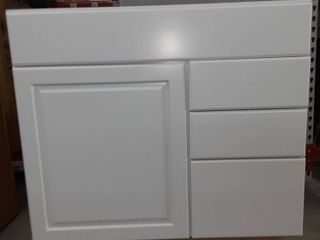 White Vanity with Cabinet Space and Drawers