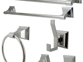 Kingston Brass 18 Inch and 24 Inch Towel Bar  6 Inch Towel Ring  Toilet Paper Holder and Robe Hook Monarch Bathroom Accessories  5 Piece Set