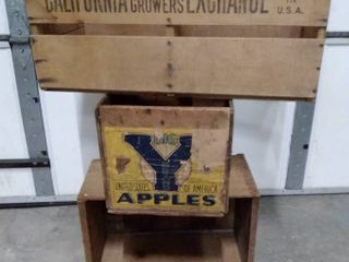 lot of 3 vintage produce wooden crates