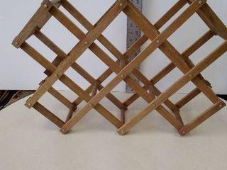 Wood accordian table top wine bott e rack