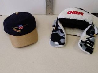 Union Pacific Wool ball cap and kids sized KC Chiefs hat