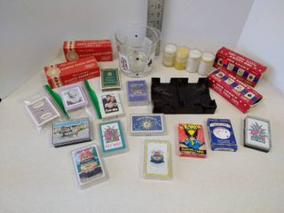 lot of playing cards poker chips and glass Bowl with cards on it