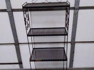 Outside metal 4 Shelf unit with side plastic decor