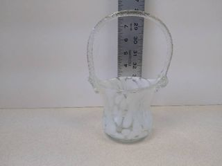 Hand blown clear   milk glass basket