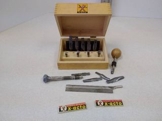 X acto wooden box with miscellaneous items inside