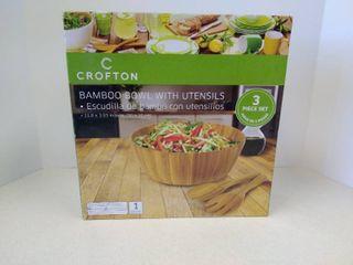Crofton bamboo bowl with utensils