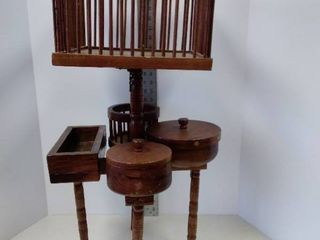 antique wood sewing   yarn holder