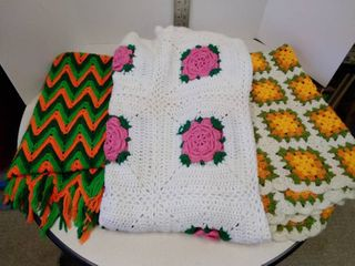 lot of 3 crocheted blankets