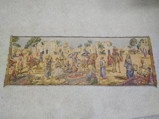 vintage wall tapestry  shopping market Middle East  made in Belgium