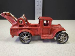 Vintage Cast Iron ARCADE  221 Red Toy Wrecker Tow Truck 5 1 2