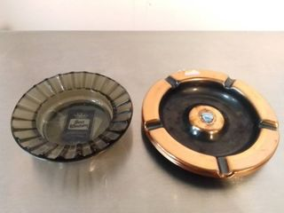 lot of 2 Metal and Glass Ashtrays