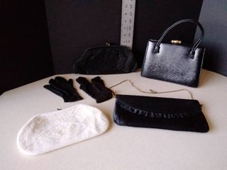 vintage purses and a pair of gloves