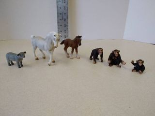 Schleich horses and chimpanzees and funrise lamb