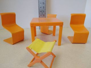 1973 Mattel Table Three chairs  Camping chair