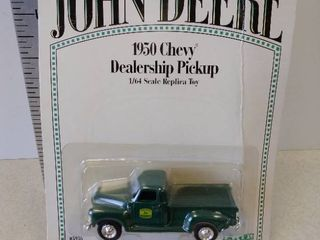 John Deere 1950 Chevy dealership pickup diecast toy replica