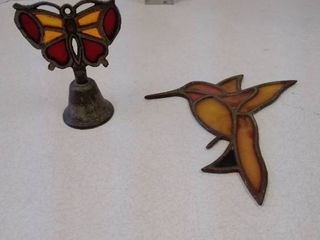 Counterpoint stained glass Bell and hummingbird Suncatcher
