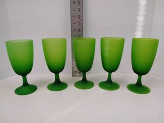 Set of five green goblets
