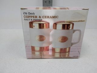 Old Dutch copper and ceramic salt and pepper