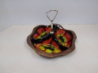 Vintage glazed pottery three section dish with handle USA 742
