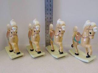 4 vintage ceramic rocking horses