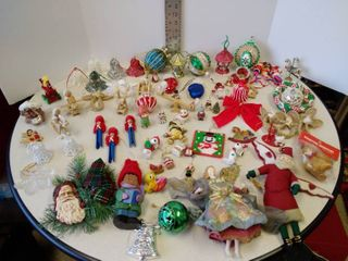 large lot of Christmas ornaments