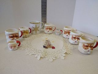 lot of Christmas   Santa mugs and Christmas tree doily