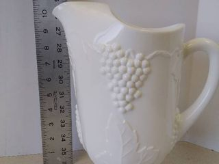 heavy milk glass pitcher