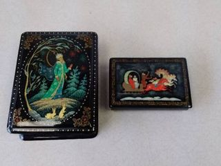 Russian black lacquer hand painted trinket box with second trinket box inside
