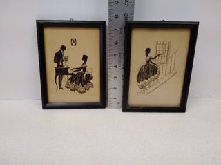 Radio picture frame company  2 silhouette prints in frames