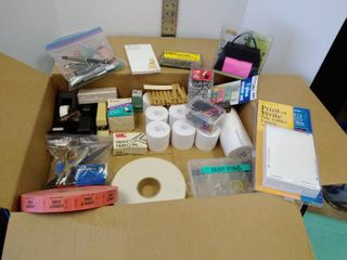 lot of miscellaneous office supplies