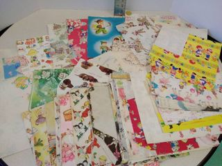lot of miscellaneous vintage wrapping paper