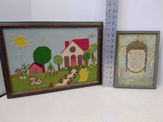 Needlepoint picture and God s masterpiece saying in frame
