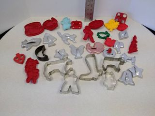 lot of cookie cutters plastic and tin