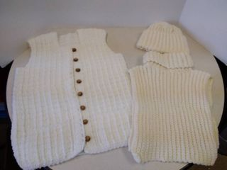 hand knitted vest  Dickie   hat