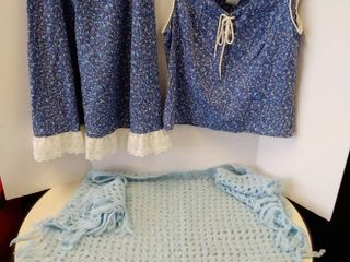 Avon fashion skirt and top and blue knitted Shawl